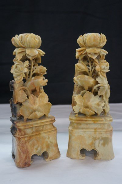 Pair of Chinese Soapstone Candlesticks