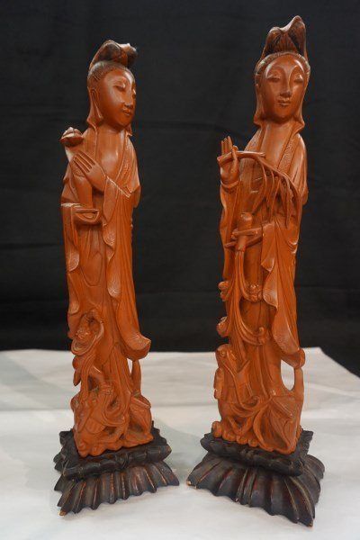 Chinese Coral Colored Pair of Figures