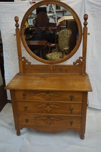 Victorian Ash 3-Drawer Dresser with Mirror