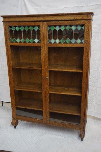 Victorian Oak Arts & Crafts 2-Door Bookcase