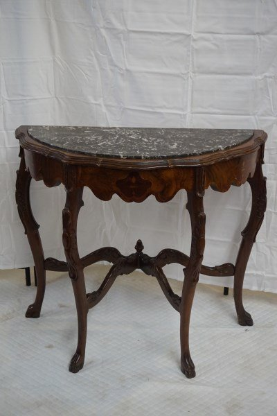 French Marquetry Demilune Marble Top Table