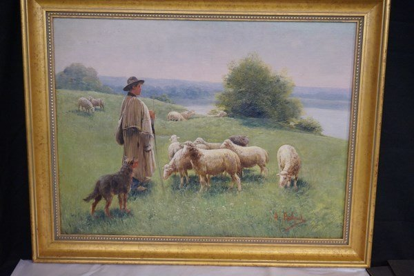 A. Balgard Signed 19th Cent. French Sheep in Landscape