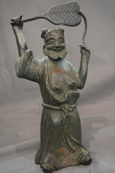 Chinese Bronze Figure with Fan