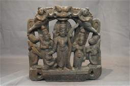 An Tibetan Carved Wood Plaque
