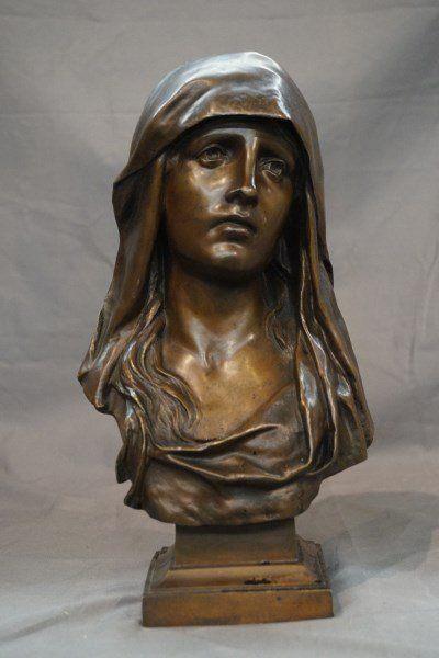 Eugene Marioton (French 1857-1933) Bronze Madonna