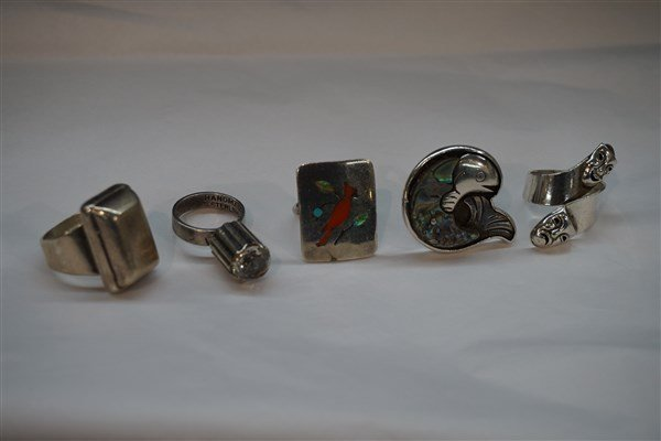 Five (5) Estate Sterling Silver Rings