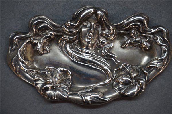 William B. Kerr Sterling Silver Art Nouveau Tray