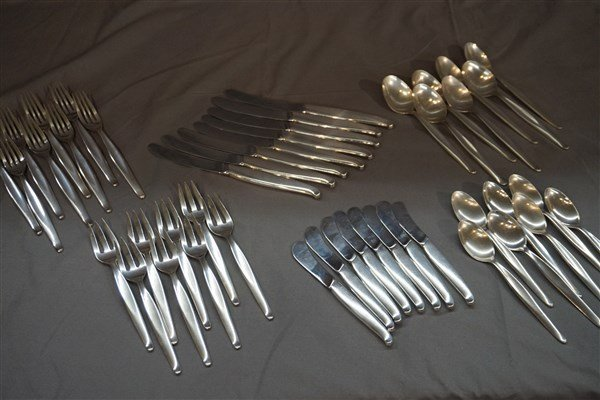46pc. Contour By Towle  MCM Sterling Silver Flatware