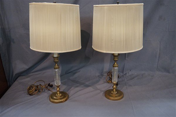 Pair of French Bronze and Crystal Table Lamps