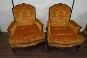 Pair Of French Louis Xv Style Bergeres Chairs