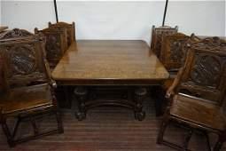 Antique English Oak Dining Room Suite