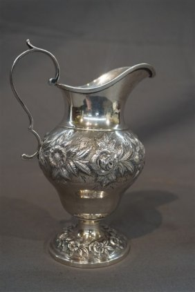 A.e. Caldwell Repousse Sterling Silver Milk Pitcher