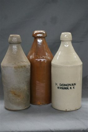Three (3) Stoneware Bottles, Newburgh Ny