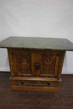 French Renaissance Style Carved Oak Cabinet
