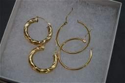 Two 2 Pairs 14K Gold Hoop Earrings