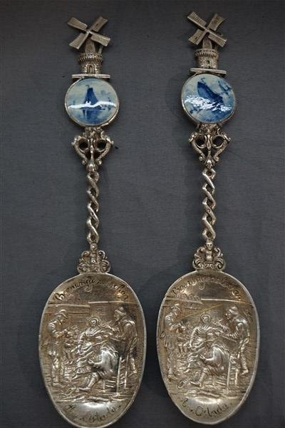 Two (2)  Dutch Silver and Delft Porcelain Spoons