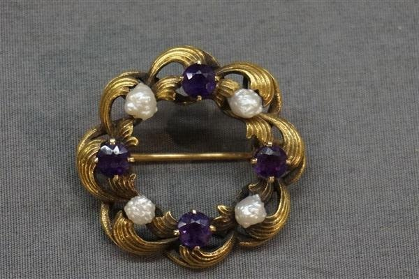 14K Gold Amethyst & Pearl Pin