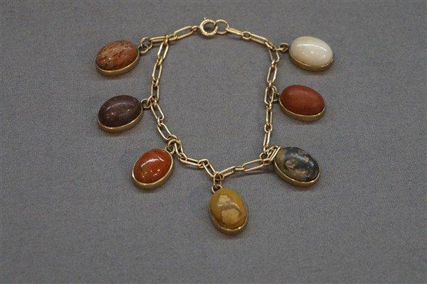 14K Estate Gemstone Charm Bracelet