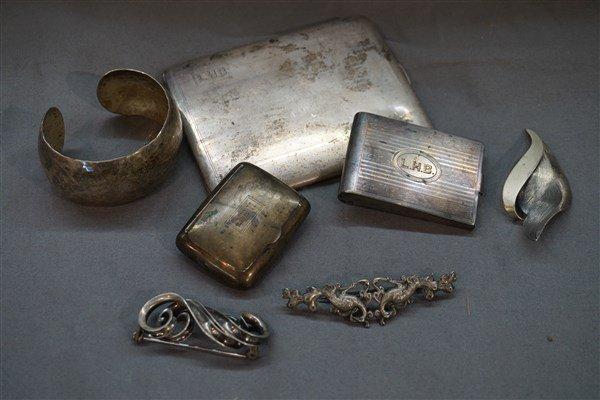 Seven (7) Estate Sterling Silver Jewelry & Objects