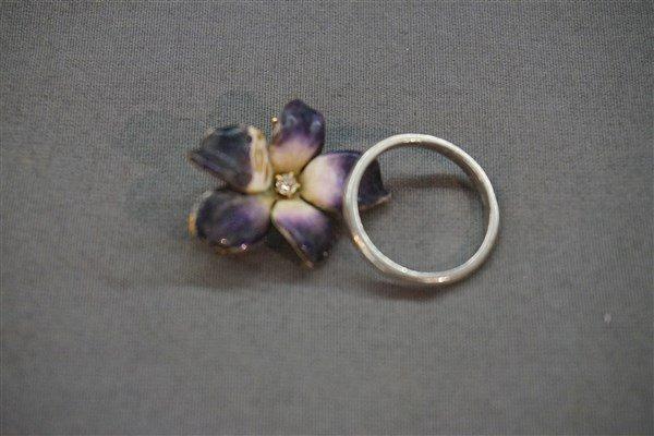 14K Diamond Pin and Platinum Ring