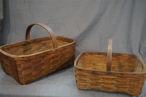 Two (2) Antique Gathering Splint Baskets