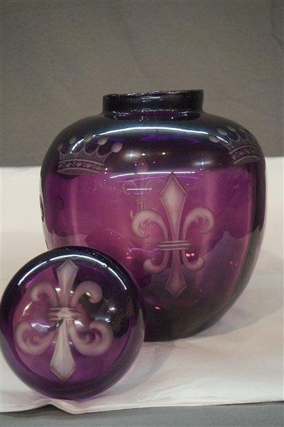 Amethyst Etched Glass Jar