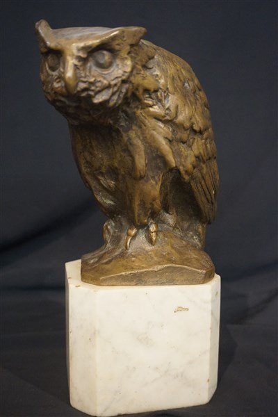 Michael Six (Austrian,1874-1938) Bronze Owl