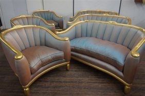 Outstanding French Art Deco Style Sofa & Chair Suite