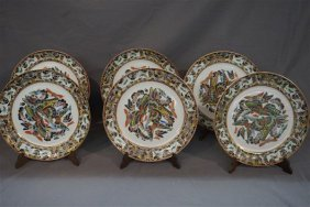 Six (6) Chinese Export Enameled Butterfly Plates