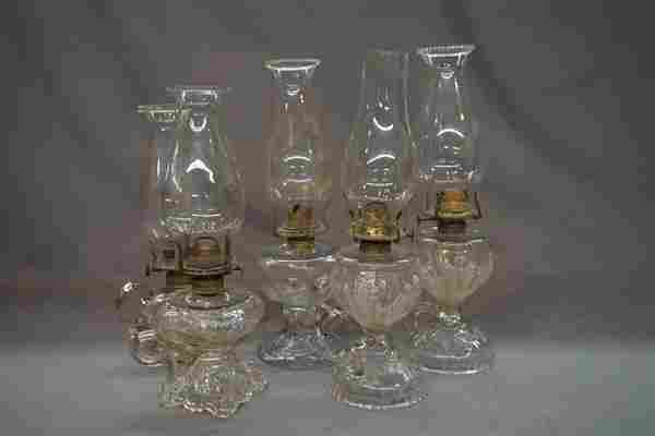 Five (5) EAPG Victorian Glass Oil Lamps
