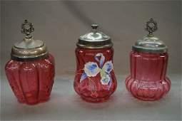 Three (3) Victorian Cranberry Glass Jars
