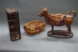 Three 3 Bennington Pottery Brown Glaze Objects