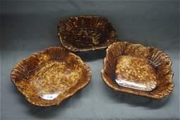 Three 3 Square Bennington Pottery Plates