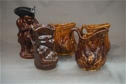 Five 5 Bennington and Rockingham Pottery Pitchers