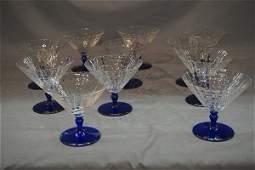 Eleven (11) Bohemian Cobalt Blue and Clear Stemware