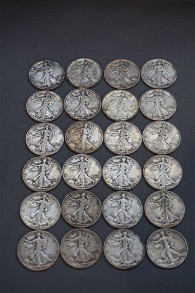 Twenty-Four (24) Walking Liberty Silver Half Dollars