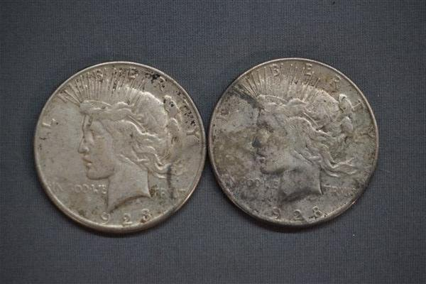 Two (2) Silver Peace Dollars