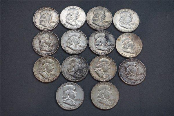 Fourteen (14) Benjamin Franklin Silver Half Dollars