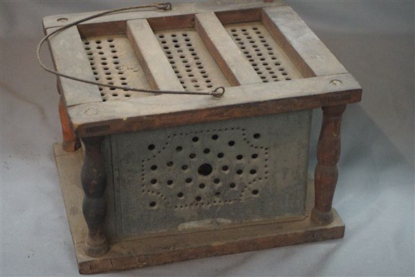 Antique Punched Tin Foot Warmer - 2