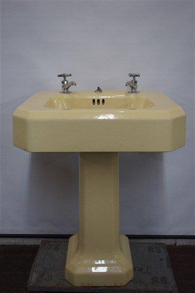 Vintage Yellow Enamel Cast Iron Sink