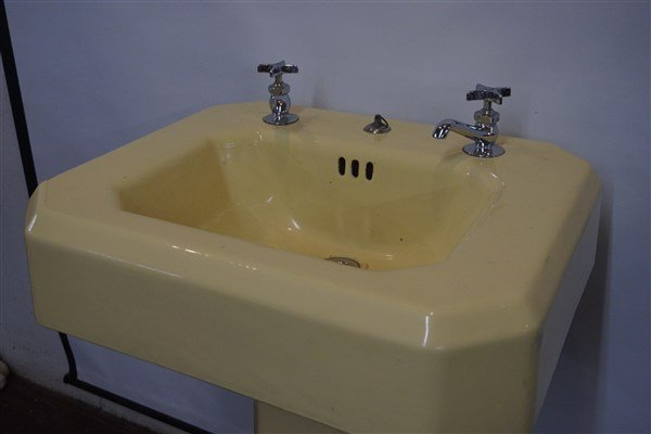 Vintage Yellow Enamel Cast Iron Sink - 2
