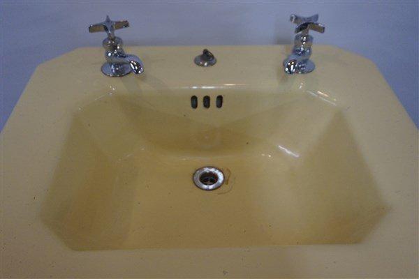 Vintage Yellow Enamel Cast Iron Sink - 5