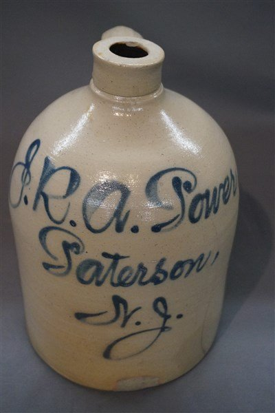 Patterson, NJ Blue Decorated Stoneware Jug