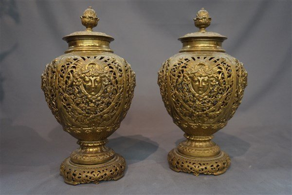 19th C. Art Nouveau English Brass Figural Urns