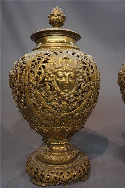 19th C. Art Nouveau English Brass Figural Urns - 2