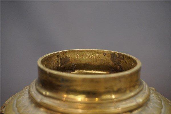 19th C. Art Nouveau English Brass Figural Urns - 4