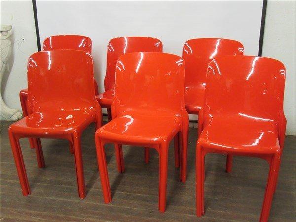 Six (6)  Red Fiberglass Modernist Chairs
