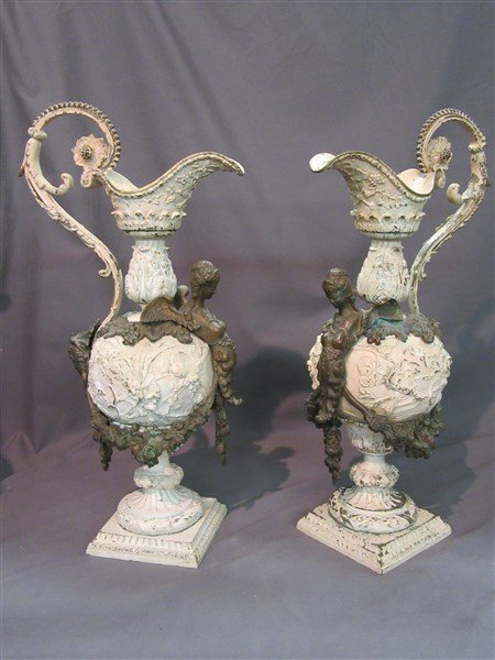 Large French Dore Bronze Ewer Table Lamp Bases