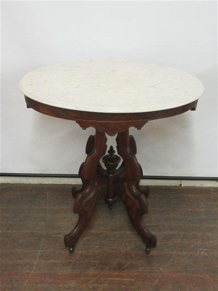 Victorian Eastlake Marble Top Table