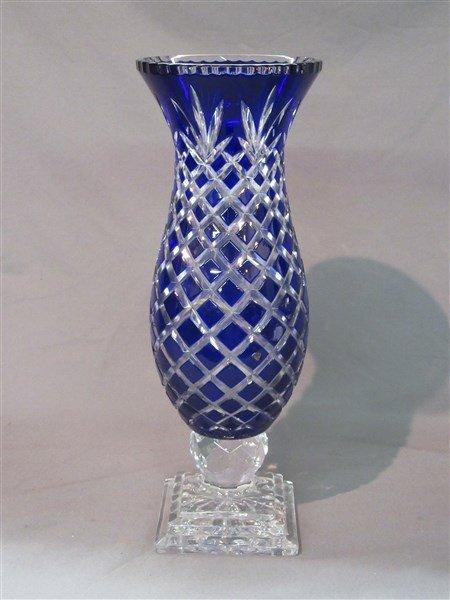 Bohemian Cobalt Blue Cut To Clear Vase